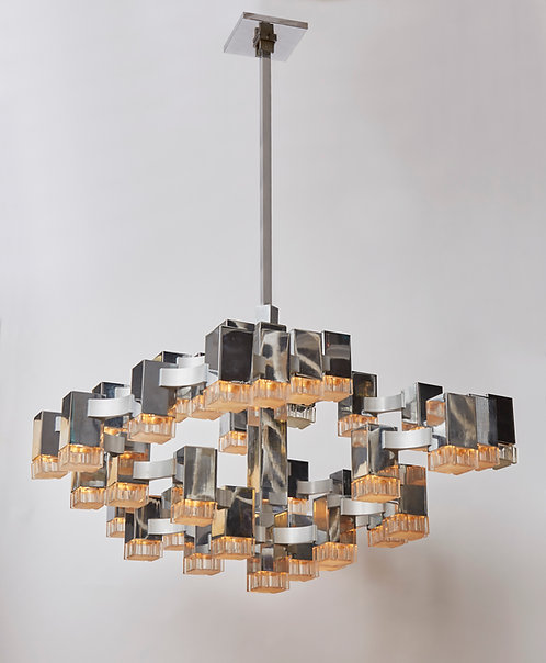 Original Thirty Seven Light Cubic Chandelier by Sciolari