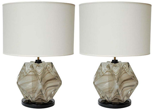 Pair of Black and Grey Murano Glass Table Lamps