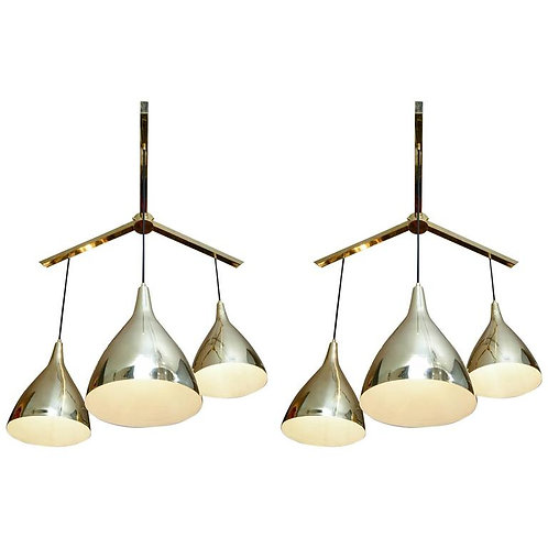 Pair of Large Three Brass Shades Suspensions