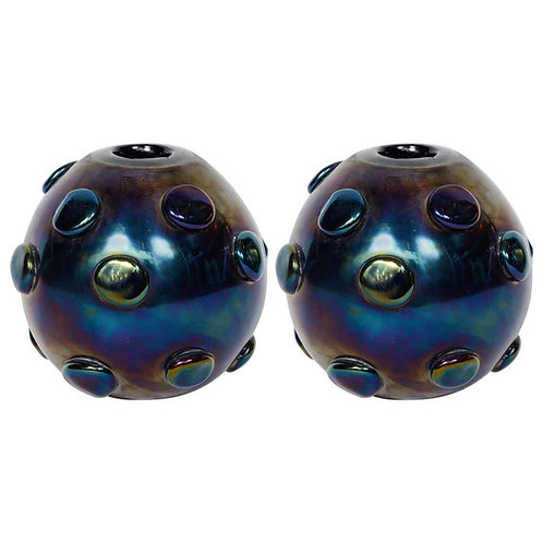 Pair of Hypnotic Vases Signed by Romano Donà