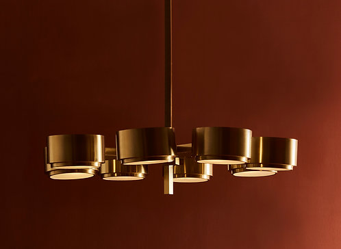 493/8 Chandelier by Hans-Agne Jakobsson in Brass and Glass