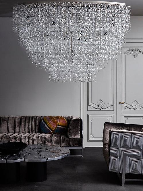 Monumental Glass Chandelier by Angelo Mangiarotti for Vistosi