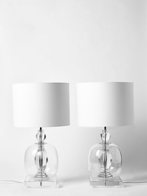 Pair of Crystal Clear Murano Glass and Plexiglass Table Lamps