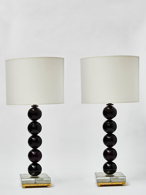 Pair of Dark Purple Murano Glass Balls Table Lamps