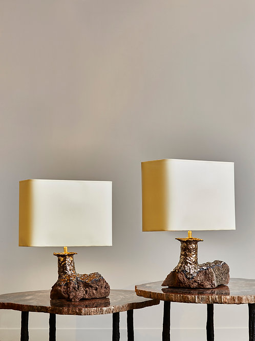Pair of Lava Stone and Ceramic Table Lamps by Leo Nataf