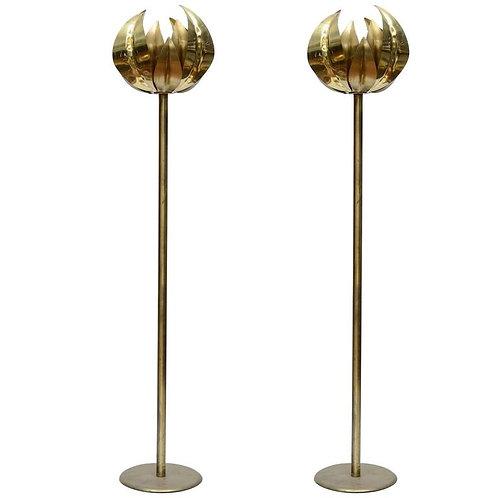 Pair of Elegant Brass Floor Lamps