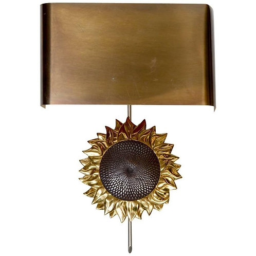 Sun Flower Bronze Wall Sconce by Maison Charles
