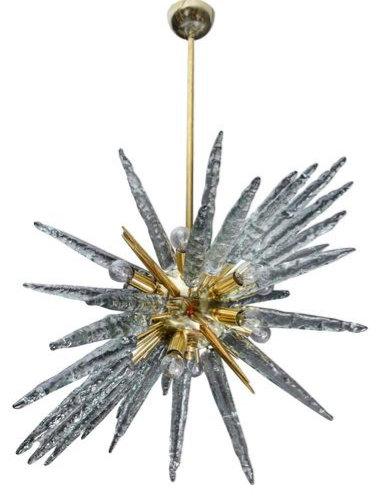 Brass and Murano Glass Sputnik Chandeliers by Glustin Luminaires