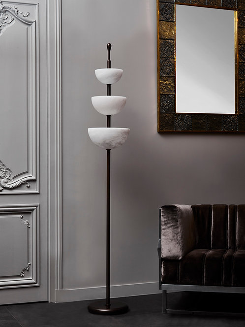 Brass and Alabaster Cup Floor Lamp by Glustin Luminaires