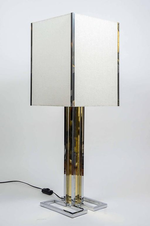 Two Tones Metal and Brass Pair of Lamps
