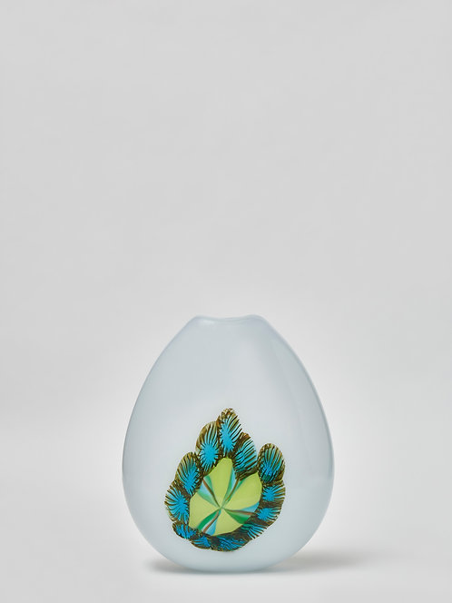 White Murano Glass Vase with Colorful Motifs