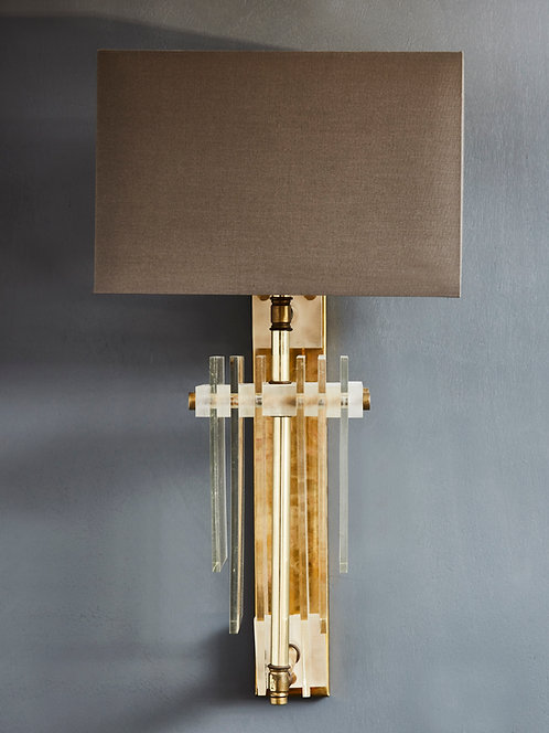 Pair of Brass Wall Sconces with Rectangular Shades and Plexiglass