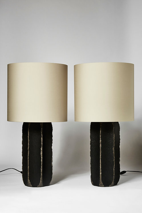 Pair of Black Ceramic and Leather Table Lamps