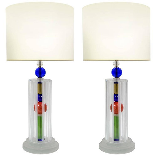 Joyful Pair of Multicolor Murano Glass Lamps
