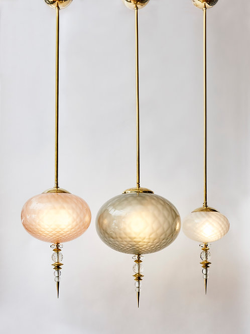Set of Three Brass and Coloured Murano Glass Suspensions