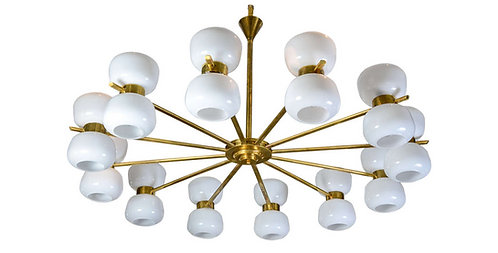 Brass and White Glass Chandeliers