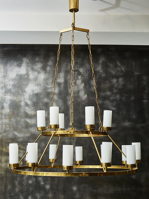 Brass Circular Chandelier with Eighteen Lights Hanged by Chains