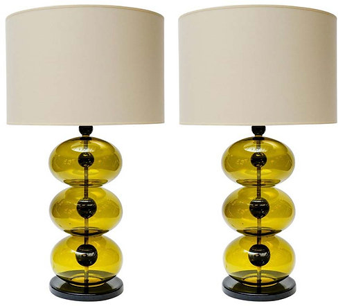 Pair of Green and Black Murano Glass Table Lamps