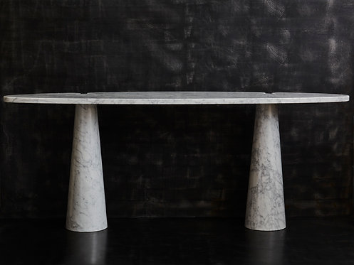 Two Eros White Carrara Marble Consoles Table by Angelo Mangiarotti