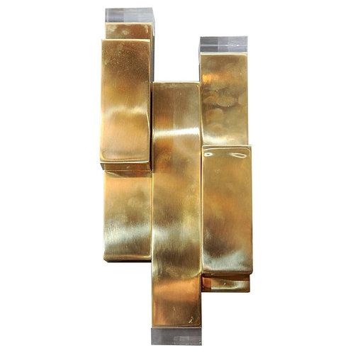 Brass and Plexiglass Wall Sconces by Glustin Luminaires