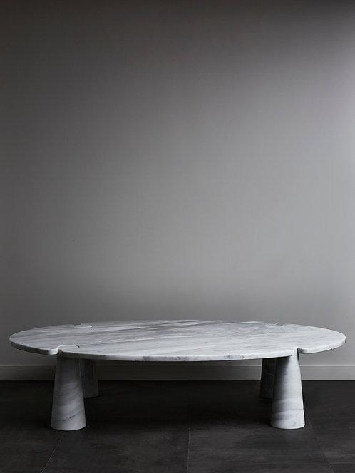 Oval Eros Angelo Mangiarotti Carrara Marble Coffee Table