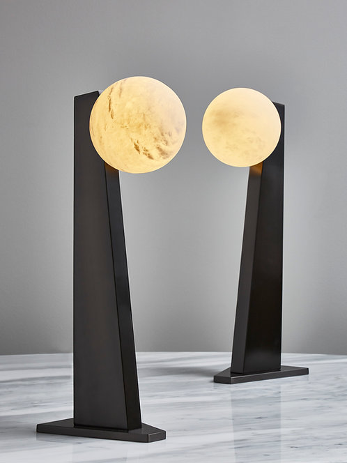 Glustin Luminaires Asymmetrical Brass Table Lamp with alabaster Globe