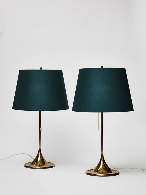 Pair of Scandinavian Brass Table Lamps by Bergbom, 1960s