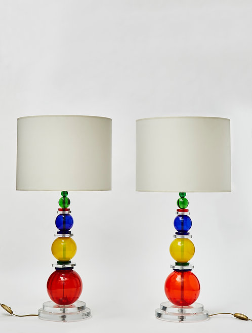 Pair of Murano Glass Table Lamps with Multicolour Spheres