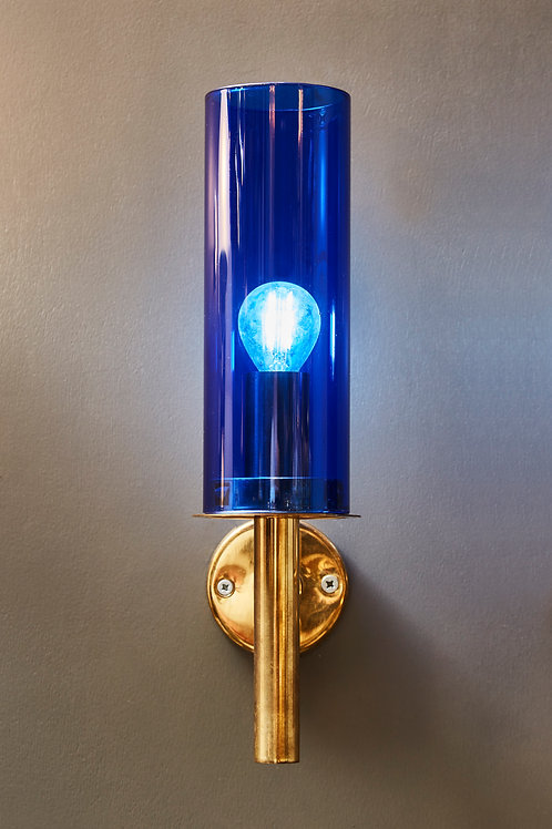 Pair of V-169 Wall Sconces by Hans Agne Jakobsson with Blue Glass