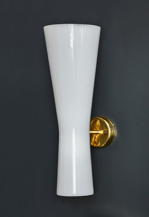 Set of Four Acrylic and Brass Swedish Cones Wall Sconces