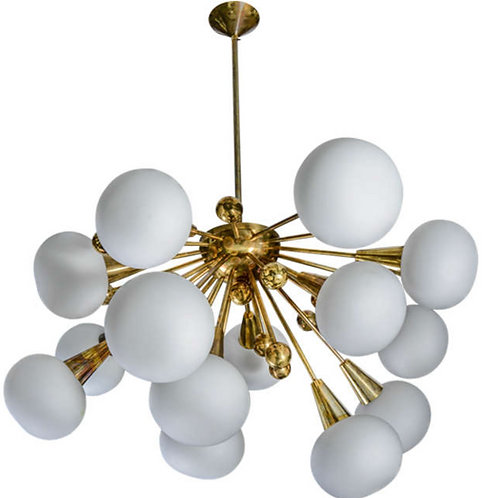 Half Sputnik Brass and Murano Glass Chandeliers