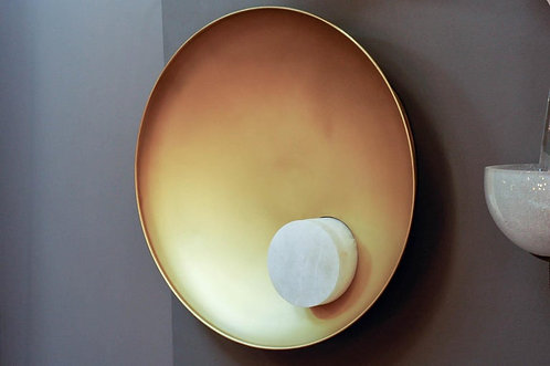 Parabolle Wall Sconces in Brass and Alabaster by Glustin Luminaires