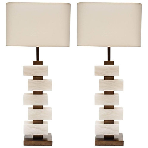 Glustin Luminaires Creation Pair of Brass and Alabaster Bricks Table Lamps