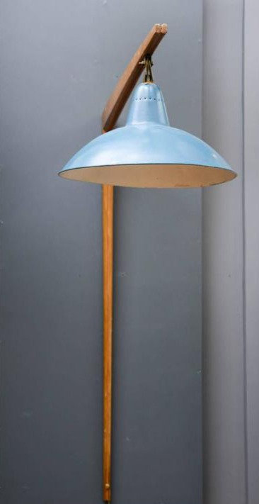 Original Right Angled Wall Sconce with Blue Sconce