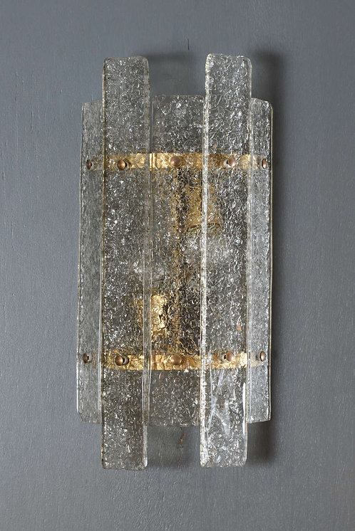 Curved Textured Murano Glass Wall Sconces