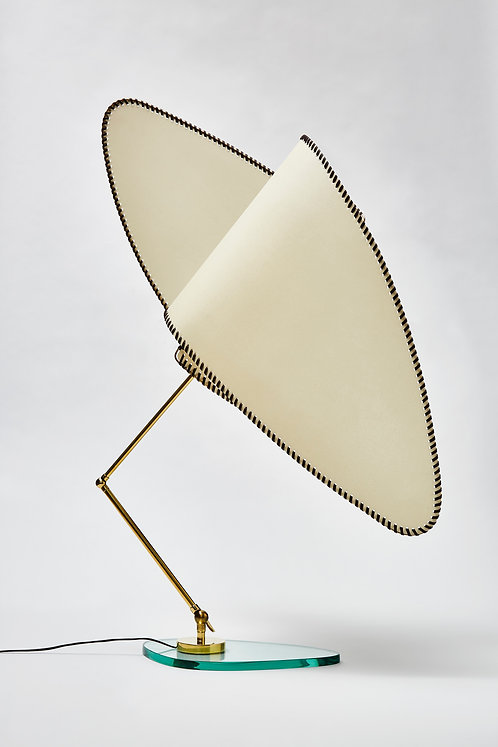 Parchment, Brass and Glass Table Lamp by Diego Mardegan for Glustin Luminaires