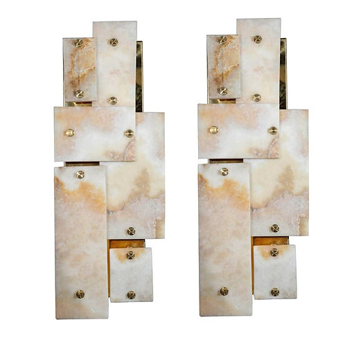 Pair of Glustin Luminaires Creation Brass and Marble Wall Sconces