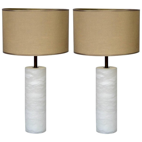 Pair of Alabaster and Brass Table Lamps with Multiple Lights Glustin Luminaires