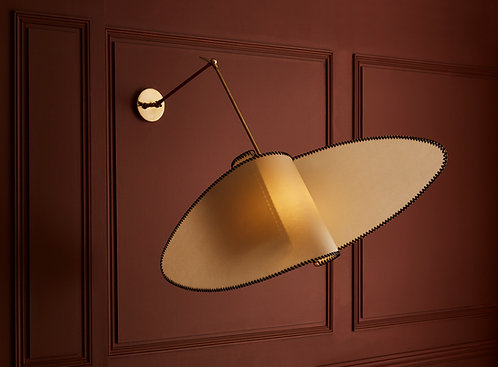 Parchment Paper and Brass Wall Sconces by Diego Mardegan for Glustin Luminaires