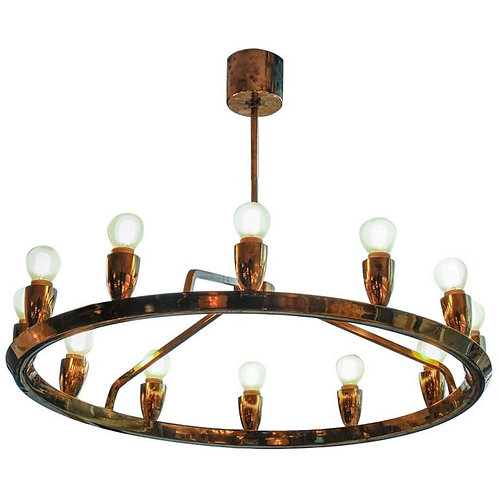Round Brass Scandinavian Chandelier