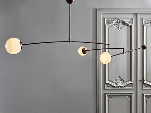 Brass and Alabaster Three Globe Mobile Chandelier by Glustin Luminaires