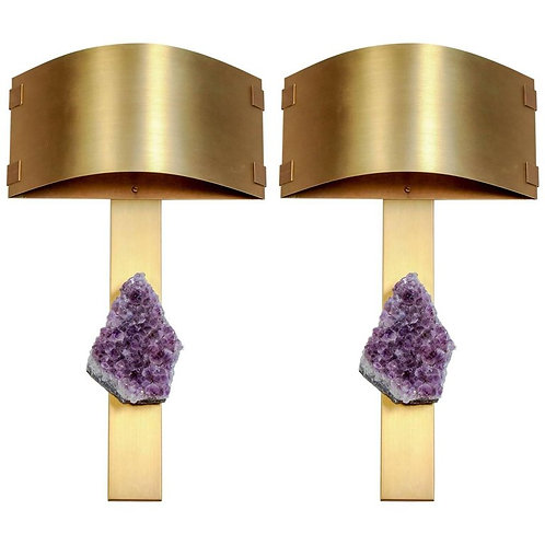 Pair of Brass Wall Sconces with Amethyst and Rectangular Shades