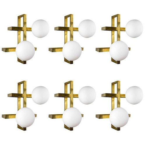 Glustin Luminaires Creation Rectangular Wall Sconces with Globes