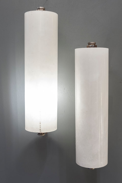 Pair of Nickeled Bronze and Alabaster Wall Sconces