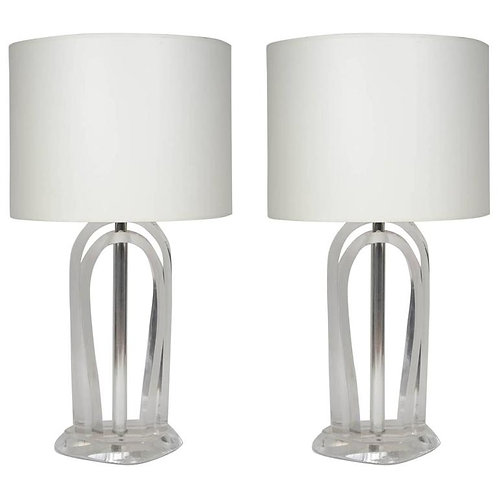 Lucite and Metal Lamps