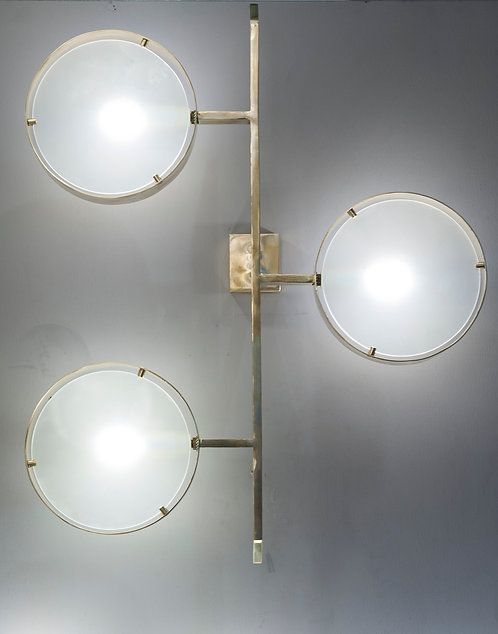 Pair of Three Lights Brass and Glass Wall Sconces