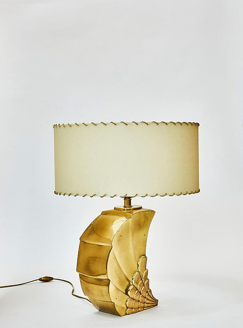 Brass Table Lamp with Parchment Paper Shades