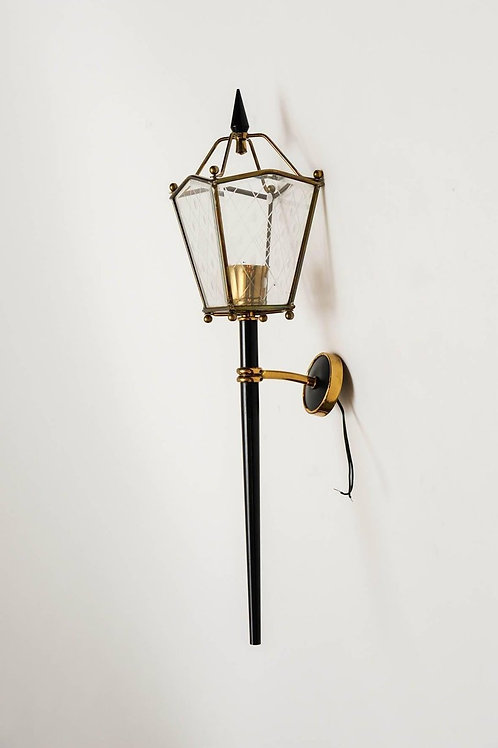 Pair of Black Metal, Brass and Glass Lantern Wall Sconces