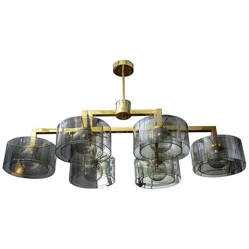 Glustin Luminaires Creation Brass Chandelier with Grey Glass Cylinder