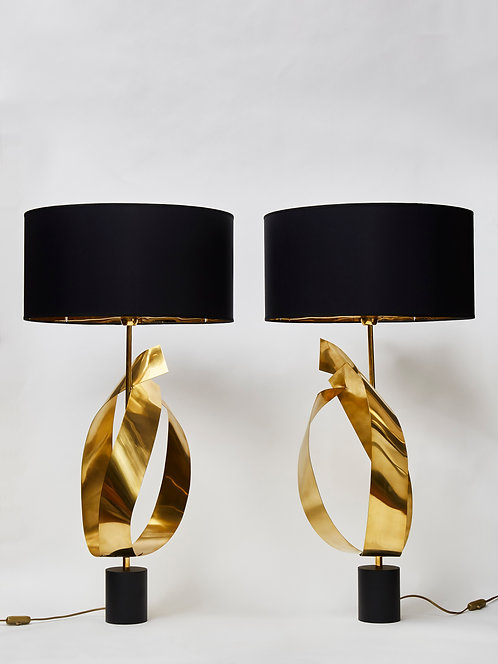 Pair of Table Lamps with Decorative Brass Ribbons